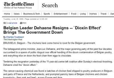 """Dehaene is constrained step down because the ""DIOXIN"" chicken feedstuff problem""."