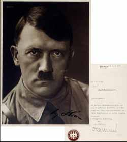 In 1933 Hitler signed photo and Reichskanzlei reply, valuation RMB 40000-80000 , transaction price RMB 333500