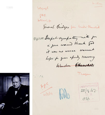 1917 British Prime Minister David Churchill handwritten letter, valuation RMB 20000-40000, transaction price RMB 195500