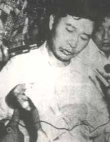 Kim Dae-jung attends a press conference after he was kidnapped in Japan and take escaped from death On 1973