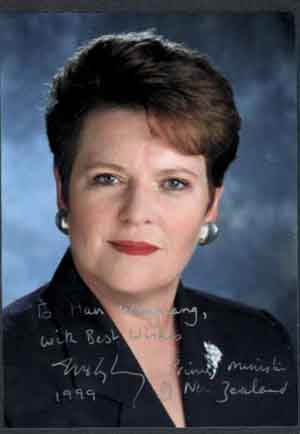 A photo autographed by New Zealand Prime Minister Shipley